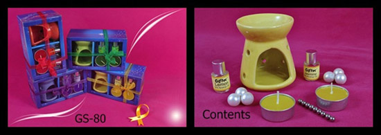 Oil Burner With 2 Aroma Oil & 2 T-Light