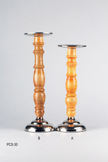 WOODEN PILLAR CANDLE HOLDER (SMALL)